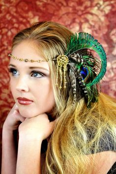 Peacock Fascinator with Gold Chain Accents by TheHauteFeather