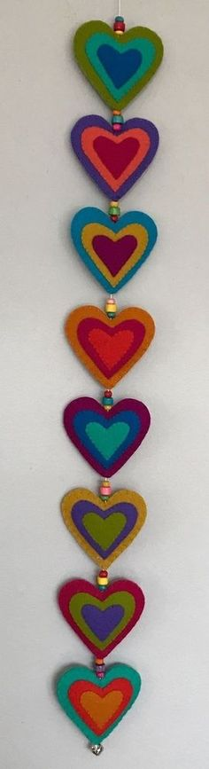 100% Wool Felt Handmade Hearts Wall Hanging