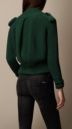 Shawl Collar Knitted Bomber Jacket in Malachite Green | Burberry: Brit Collection
