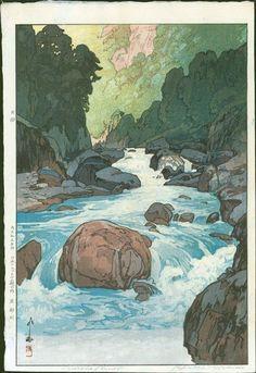 Hiroshi Yoshida Woodblock Print - Kurobe River 1926