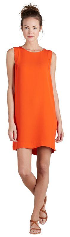 Joie orange silk shift dress