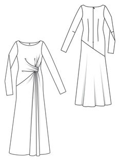 Gown Pattern, Dress Patterns, Sewing Patterns, Fashion Design Sketchbook, Fashion Sketches, Croquis Fashion, Hijab Dress Party, Fashion Templates, Long Sleeve Gown