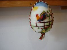 Needle felting white easter egg with colorful rooster, wool easter decoration.spring decoration on Etsy, $18.00