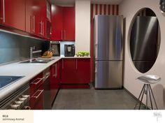 Beżowe kolory ścian wkuchni +czerwone meble