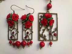 Bouquet of red roses Red jewelry Polymer clay jewelry por insou, $46.00