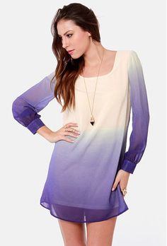 Ombre shift dress (front), knee length.