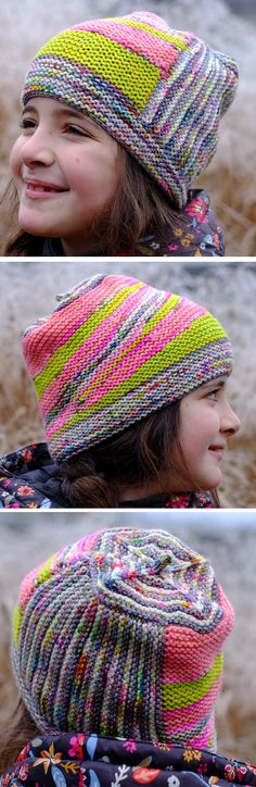 Free Knitting Pattern for Werewolf of Westport Hat - This colorful beanie features garter stitch, stripes, short rows wedges and modular construction. It uses 5 colors of worsted yarn ranging in amounts from 10 meters to 42 meters so it's perfect for scrap yarn and stash busting. Designed by Les Tricoteurs Volants. Pictured project by JulieKnitsInParis