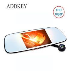 ADDKEY Magnet car dvr camera Rearview mirror Full HD 1080P dual lens car dvrs 5 inches Reverse image night vision dash cam