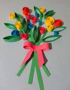 Flower Basket Paper Craft for Kids. Super simple Spring craft project for kids to make. Spring Crafts For Kids, Summer Crafts, Projects For Kids, Art For Kids, Preschool Crafts, Kids Crafts, Diy And Crafts, Paper Crafts, Diy Paper