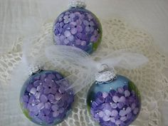 Blue Glass Ornament Hand Painted Purple Hydrangeas by pinkrose1611