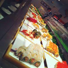 The sushi bar at Minado Japanese Seafood Buffet in Natick