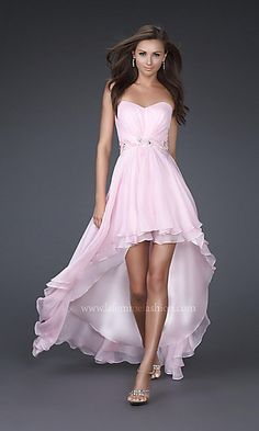 $318 Strapless High Low Prom Dress by La Femme Poly chiffon, High-Low, Strapless Sweetheart