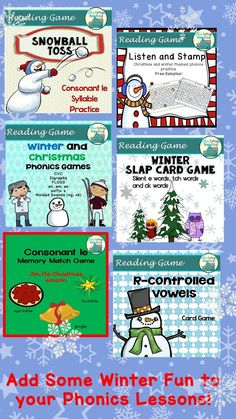 These Christmas And Winter Themed Games Provide Lots Of Great Reading Practice. There Are Card Games, Board Games And Active Games To Help Add Fun To Your Og Style Phonics Lessons. Extraordinary For Tutors, Teachers And Homeschoolers. Phonics Lessons, Phonics Games, Phonics Reading, Reading Games, Kids Reading, Reading Comprehension, Reading Practice, Reading Skills, Special Education Classroom