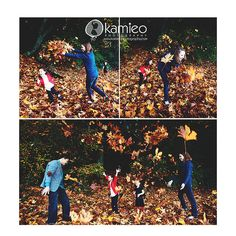 Photo by: Kamieo Photography    Fall family leaf fight fun.