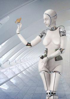 Contemplating Life, Digimaree, cyber girl, cyberpunk, robot, android, bot, future, futurism, futuristic, futuristic art, sci-fi, sci-fi art by FuturisticNews