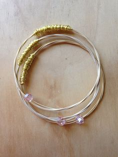 Set of 3 Guitar string bangle guitar string by ChapterIIICreations, $30.00