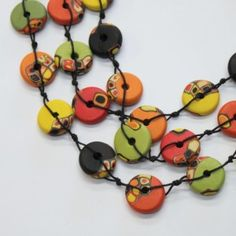 Long necklaces strung button style by Pörrö Sahlberg  I really like this one:)