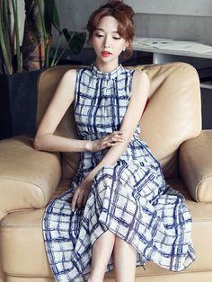 优雅气质格子雪纺长裙