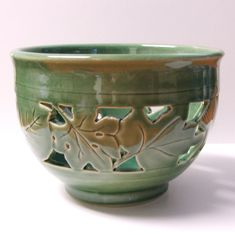 Semi porcelain clay Hand Carved Bowl, Orchid Pot.