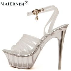 Summer Platform sexy clear pvc strappy sandals Shoe for stripper pole dance Women Large Size High heel Big Pump Lady female Plus Beautiful High Heels, Sexy High Heels, Women's Pumps, Pump Shoes, Strappy Sandals, Shoes Sandals, Stripper Poles, Pole Dancing, Summer Shoes