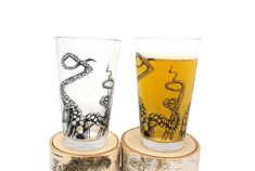 These screen printed beer glasses feature an original illustration of octopus tentacles crawling up around this pint glass! This nautically themed beer glass makes a great addition to any pint glass collection!  Glasses manufactured in the USA. Printed by hand in our studio here in Denver, Colorado.  Black Ink. Ink is permanent and heat set in oven.Prints will not fade or wash off. Dishwasher safe, but we recommend washing by hand. Ink is FDA approved so you can feel safe about drinking out…