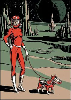 Space Girl taking Space Dog for a walk! LOL