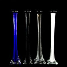 """Blue, Black, Clear and White 16"""" inch Eiffel Tower Vases"""