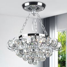Joanne Crystal 4-light Chrome Semi-flush Mount Chandelier