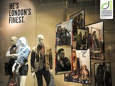 Combining text, photos and mannequins Pepe Jeans window displays Autumn 2012 Budapest
