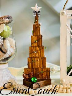 Christmas Crafts, Christmas Decorations, Christmas Ornaments, Christmas Trees, Jenga Blocks, Dollar Tree Crafts, Shell Crafts, Dollar Stores, Garland