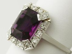'Amethyst Dress Ring with Diamonds - Art Deco Style'…