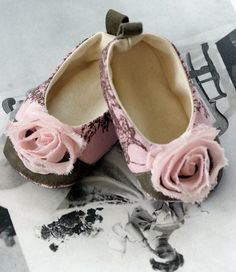 Baby Shoes Couture Ballet Slipper Pink Toile de Joey - Baby Souls - Coco Series