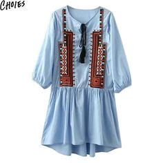 Women 2 Colors Lace Up Front Vintage Embroidery Pattern Ethnic Style Mini Shift Dress Tassel O Neck Casual Summer Clothing
