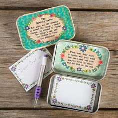 Serenity Prayer Prayer Box - Always a favorite, our Prayer Boxes help keep prayers close by. Has cream crochet trim, a turquoise and lime flower pattern background, and The Serenity Prayer encircled by flowers outside and a message of inspiration inside. Comes with a pad and tiny mechanical pencil to write personal prayers.