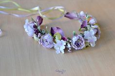 Flower crown Purple Bridal floral hair wreath Dusty Peony