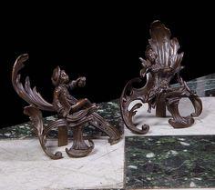 20th century bronze fire dogs
