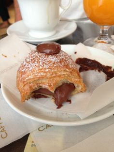 Would you like some chocolate with that croissant?  A perfect breakfast at Caffe Giacosa in Florence, Italy.
