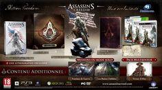 """Le dernier pack est l'Edition Freedom (ci-dessus) comprenant le jeu + le steelbook +le journal de Georges Washington + une lithographie + 2 missions du solo """"Les ruines oubliées"""" et """"Fantôme de guerre""""(qui vous rajouteront environ 40 min de jeu ce qui n'est pas terrible) + le pack multi """"Tirreur d'Elite"""".  + d'infos http://www.jeuxvideo.com/news/2012/00057360-assassin-s-creed-iii-les-editions-collector.htm"""