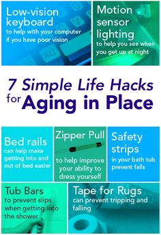 7 Simple Life Hacks for Aging in Place/Staying out of the Nursing Home. Brilliant visual for elderly patients and to reduce risk of falls in the home environment! Home Health, Health And Wellness, Health Care, Mental Health, Occupational Therapy Assistant, Dementia Activities, Elderly Activities, Craft Activities, Aging In Place