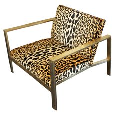 Introducing the Maurice Chair featuring the premium Leopard fabric. The gold metal detail of the base looks outstanding paired with any Katie Kime fabrics. This chair is modern and stylish yet classic White Dining Chairs, Living Room Chairs, Lounge Chairs, Side Chairs, Leopard Print Chair, Animal Print Furniture, Big Comfy Chair, Accent Chairs For Sale, Rocking Chair Porch