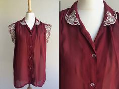 1970s Oxblood Sheer Blouse with Embroidered Flower by HappyRedUK