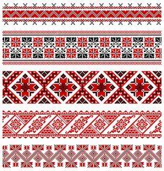 Ilustrações vetoriais de ornamentos bordado ucraniano, padrões, frames e fronteiras