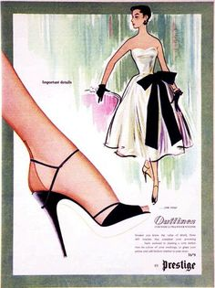 Prestige Hosiery ad, 1950s. #vintage #fashion #stockings