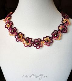 First Needle Tatting Patterns | Yarnplayers Tatting Blog: Tatted Flower Choker