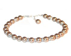 BRONZE Pearl Bracelet Sterling Silver by CharminglyYoursToo