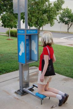 Prayer booths were installed in Kansas City by artist Dylan Mortimer as a public art project. The booths were in public spaces where citizens can pray while they go about their daily activities. Read more: http://popupcity.net/pray-on-the-way/#ixzz2piOtueEO