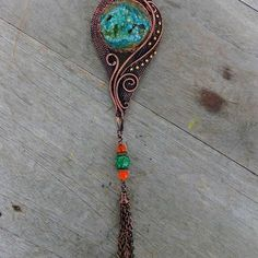 ~SOLD~   #eviwidjaja #indonesia #wireart #wirejewelry #wirewrap #wire #jewelry #necklace #pendant  #brooch #tassel #copper #patina #natural #stone #druzy #agate #jasper #filigree #swirl #coiling #weaving #art #handmade #oneofakind #love #passion #ethnic #elegant #vintage