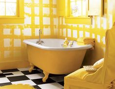 37 Excellent Sunny Yellow Bathroom Design Ideas: 37 Excellent Sunny Yellow Bathroom Design Ideas With Modern White Yellow Wall Bathtub Chair And Rug