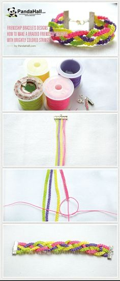How to Make a Braided Friendship Bracelet with Brightly ... | easy cr�� by wanting