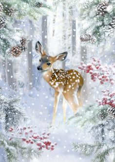 Leading Illustration & Publishing Agency based in London, New York & Marbella. Christmas Scenes, Christmas Animals, Christmas Art, Xmas, Winter Pictures, Christmas Pictures, Vintage Christmas Images, Deer Art, Christmas Paintings